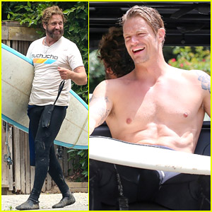 Gerard Butler Hits the Beach with Joel Kinnaman Again for Another Surf Session