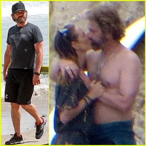 Gerard Butler Makes Out with Girlfriend Morgan Brown at the Beach in Malibu