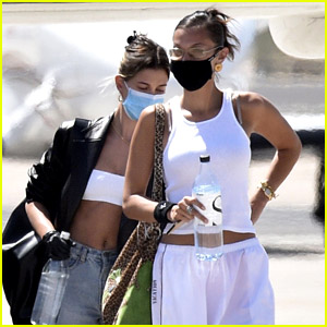 Hailey Bieber & Bella Hadid Wear Masks While Leaving Sardinia After 3-Day Photo Shoot