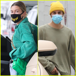 Hailey Bieber Wears Face Mask from Husband Justin Bieber's Drew Clothing Line