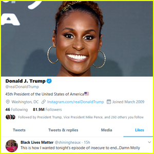 Issa Rae Reacts After Donald Trump 'Likes' Tweet About 'Insecure'
