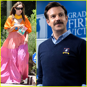 Olivia Wilde Wears Gorgeous Pink & Orange Dress While Running Separate Errands From Partner Jason Sudeikis