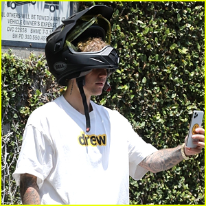 Justin Bieber Wears His Motorcycle Helmet To Pick Up Drinks After Denying Sexual Assault Story
