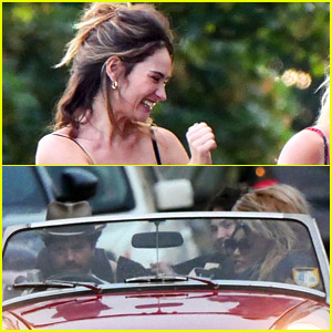 Lily James Piled Into a Two-Seat Car with Some Celeb Friends!