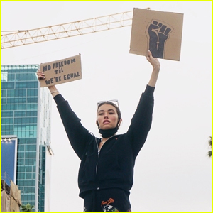 Madison Beer Holds Up Signs While Attending George Floyd Protests