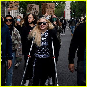 See Photos of Madonna Attending a BLM Protest on Crutches
