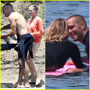 Robin Wright & Husband Clement Giraudet Share Kisses While Surfing!