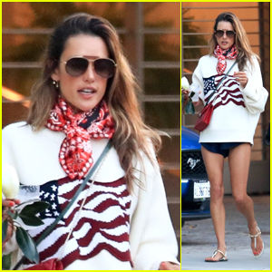 Alessandra Ambrosio Looks Patriotic in Red, White & Blue on the Fourth of July