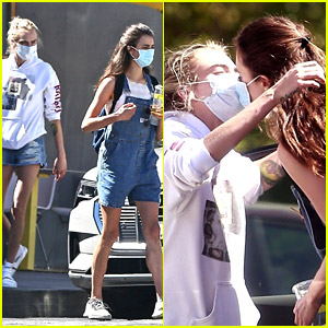 Cara Delevingne & Margaret Qualley Share a Masked Kiss After Getting Lunch