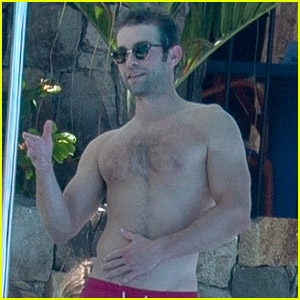 Chace Crawford Goes Shirtless, Practices His Golf Swing by the Pool in Cabo