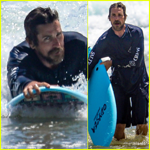 Christian Bale Does Some Body-Boarding in Malibu!