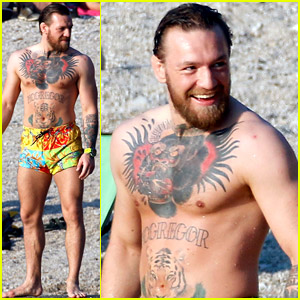 Newly Retired Conor McGregor Wears Colorful Swim Shorts at the Beach in France