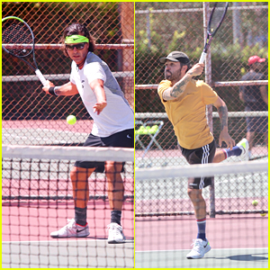 Gavin Rossdale & Pete Wentz Show Off Moves During Tennis Match