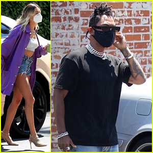 Hailey Bieber Arrives On Set for a Project with Miguel