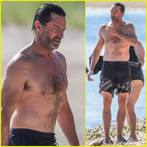 Hugh Jackman Goes Shirtless for Beach Day with Wife Deborra Lee Furness!