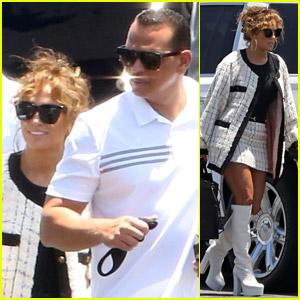 Jennifer Lopez Boards a Private Jet with Alex Rodriguez & Her Kids