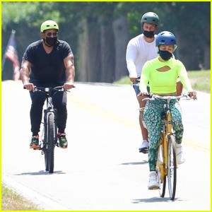 Jennifer Lopez & Alex Rodriguez Enjoy a Bike Ride in the Hamptons