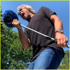 Jon Bon Jovi Sings to Wine Bottles in His Backyard for New TikTok Challenge!