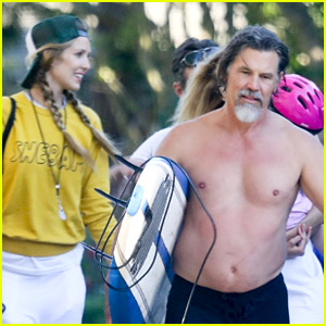 Josh Brolin Goes Shirtless While Leaving the Beach on July 4th