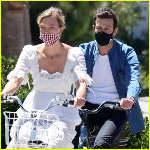 Karlie Kloss & Joshua Kushner Wear Masks on Afternoon Bike Ride