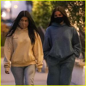 Kourtney Kardashian & Addison Rae Go to Dinner With Friends in Malibu