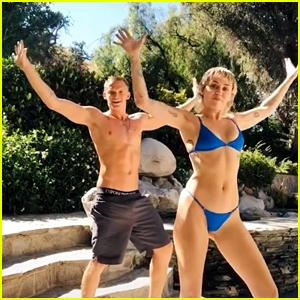 Miley Cyrus Dances In Hot Blue Bikini With Boyfriend Cody Simpson on TikTok