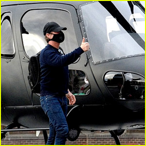 Tom Cruise Wears a Mask for Helicopter Ride in London