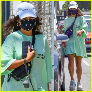 Vanessa Hudgens Wears an Oversized T-Shirt While Walking Her Dog Darla
