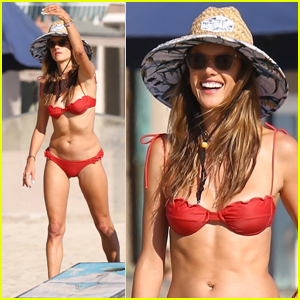 Alessandra Ambrosio Plays Cornhole with Friends on the Beach