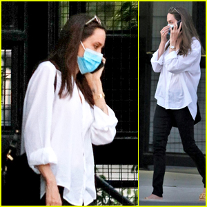 Angelina Jolie Drops Off Her Daughter in a Mask in LA