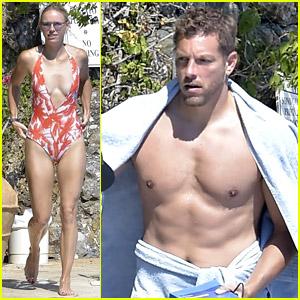 Tennis Star Caroline Wozniacki Relaxes at the Pool with Husband David Lee