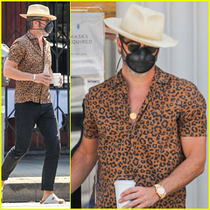 Chris Pine Picks Up Coffee in a Leopard-Print Shirt