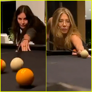 Courteney Cox Hilariously Schools Jennifer Aniston in Game of Pool - Watch!