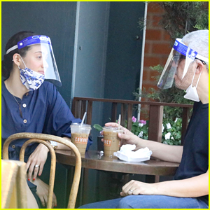 Emmy Rossum & Husband Sam Esmail Wear Face Masks & Shields While Out for Breakfast