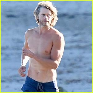 Eric Christian Olsen Goes Shirtless for Run on the Beach in Malibu!