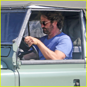 Gerard Butler Takes His Vintage Land Rover for a Ride in Malibu