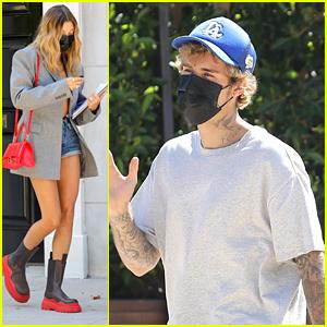 Hailey Bieber Freshens Up Her Locks at Hair Salon While Husband Justin Bieber Meets With A Friend