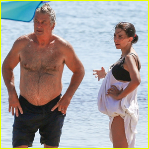 Hilaria Baldwin Shows Off Major Baby Bump During Day at the Beach with Husband Alec!