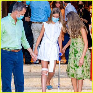 Spanish Royal Family Wears Masks To Tour Historic Town After Princess Sofia Injures Knee