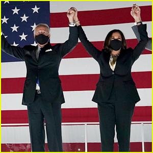 Joe Biden & Kamala Harris Wear Masks to Watch DNC Fireworks Show - Watch His Speech!