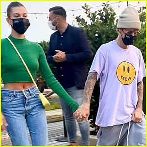 Hailey Bieber Looks Chic in Green Crop Top & Jeans at Dinner with Justin Bieber