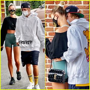 Justin & Hailey Bieber Show Cute PDA While Stepping Out for Breakfast