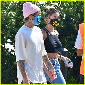 Justin Bieber Wears a Fun Animated Mask at Lunch with Hailey
