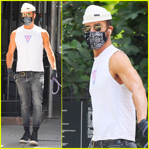 Justin Theroux Soaks Up the Sunny Weather While Walking His Dog