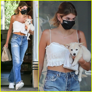 Kaia Gerber Pays a Visit to Pet Store with Puppy Milo