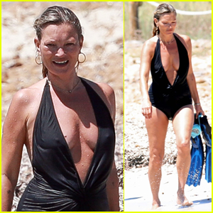Kate Moss Rocks Plunging Bathing Suit on Vacation in Spain!