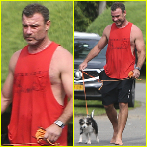 Liev Schreiber Shows Off His Muscles at the Beach with His New Puppy!
