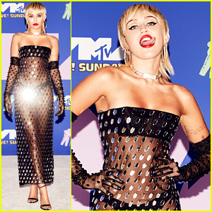 Miley Cyrus Wears Completely Sheer Dress for VMAs 2020 Red Carpet!