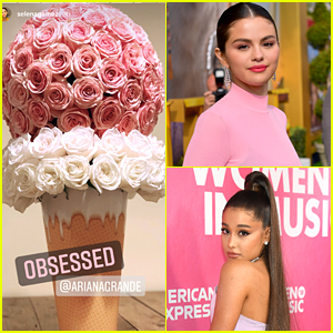 Ariana Grande Sent Selena Gomez An Ice Cream Cone Shaped Flower Arrangement After 'Ice Cream' Song Premiere