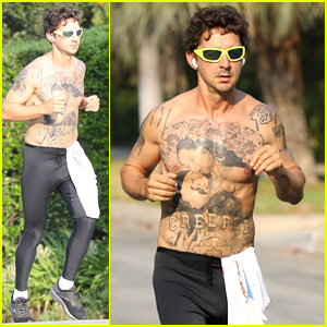 Shia LaBeouf Goes for a Shirtless Jog, Puts All His Tattoos on Display!